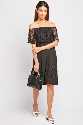 Lace Overlay Embroidered Dress