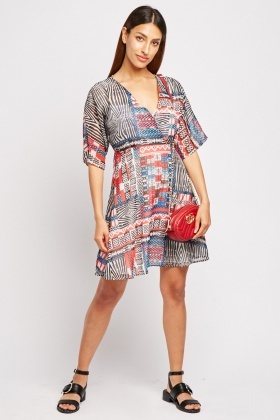 Mix Tribal Print Chiffon Swing Dress