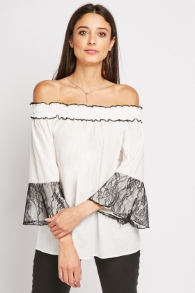 Lace Bell Sleeve Off Shoulder Top
