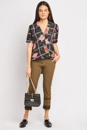 Flower Print Contrast Wrap Top