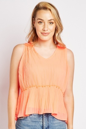 Sleeveless Sheer Plisse Top