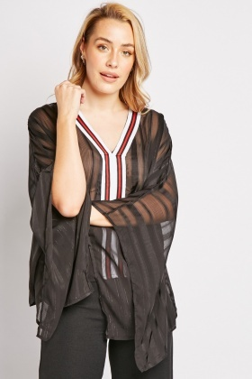 Metallic Stripe Contrast Blouse