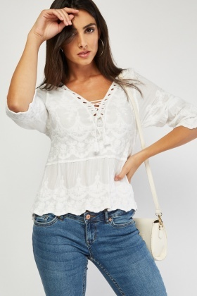 Embroidered Lace Up Tassel Blouse