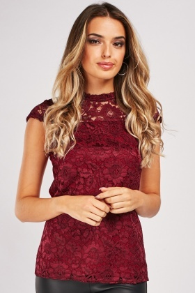 Cap Sleeve Lace Panel Top