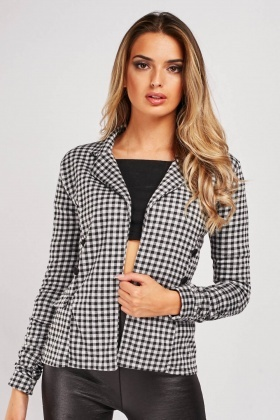 Elasticated Ruched Sleeve Gingham Jacket