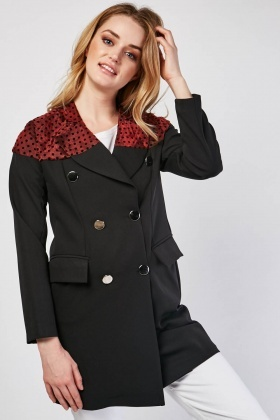 Polka Dot Organza Panel Coat