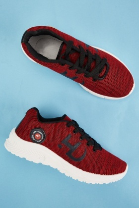 Embroidered Textured Mens Trainers