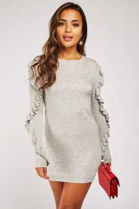 Ruffle Sleeve Mini Knit Dress