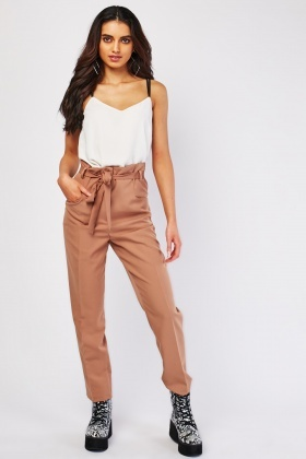 Belted Plain Tapered Trousers