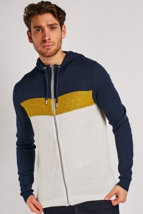 Colour Block Hooded Knit Cardigan