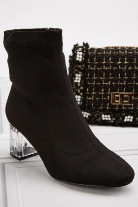 Acrylic Block Heel Suedette Boots
