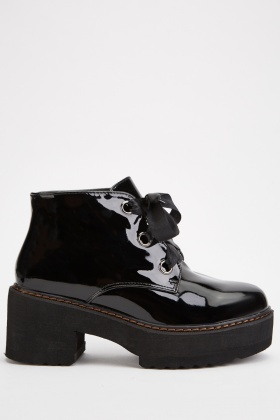 Chunky Vinyl Lace Up Boots