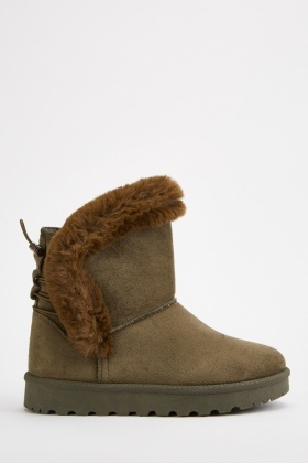 Fur Trim Suedette Winter Boots