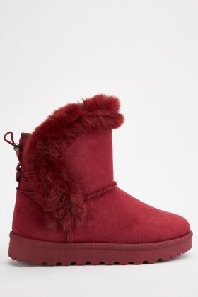 Fur Trim Suedette Winter Boots