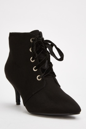 Lace Up Kitten Heeled Boots