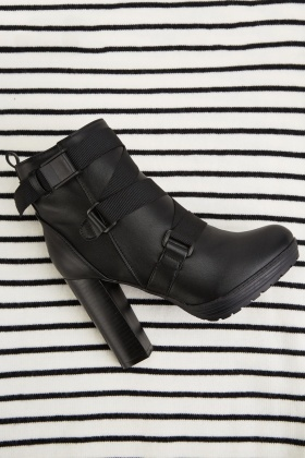 Multiple Clip Strap Ankle Boots