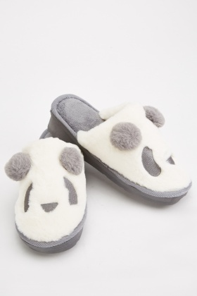 Panda Face Fleece Slippers