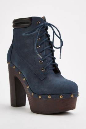Studded Trim Platform Heel Boots