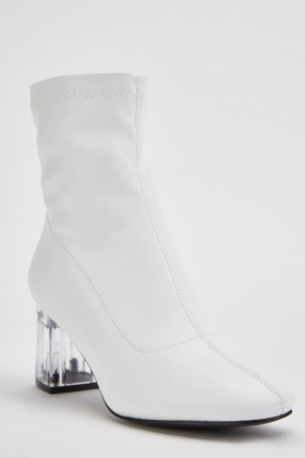 White Faux Leather Transparent Heeled Boots