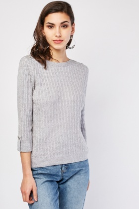 3/4 Sleeve Length Cable Knit Jumper £5.00