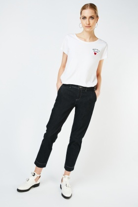 Ankle Grazer Dark Denim Blue Jeans