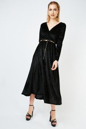 Belted Flared Maxi Velveteen Dress
