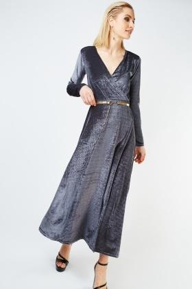 Belted Flared Maxi Velveteen Dress £5.00