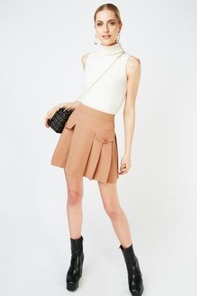 Knife Pleated Mini Skirt