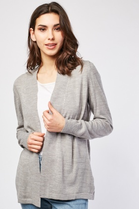 Long Sleeve Plain Knit Cardigan