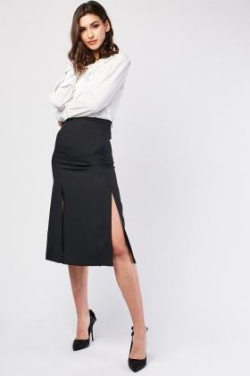 Multiple Slit Detail Midi Skirt