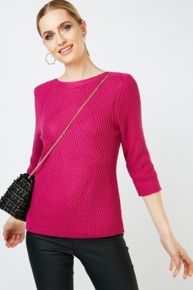 Patterned Textured Knit Jumper