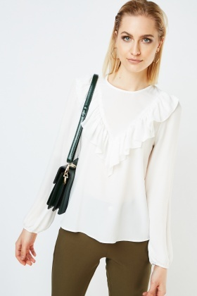 Ruffle Front Sheer Blouse