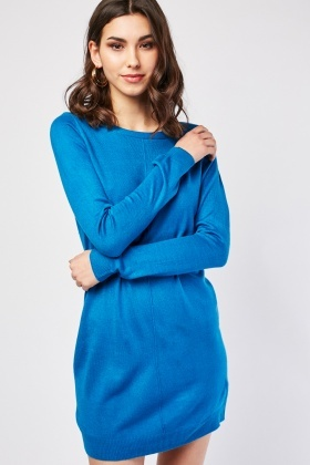 Zip Up Back Plain Knit Dress