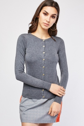 Fine Knit Plain Cardigan