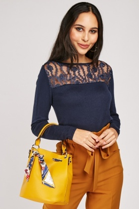Lace Insert Knit Top