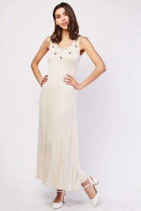 Pearl Encrusted Jersey Maxi Dress