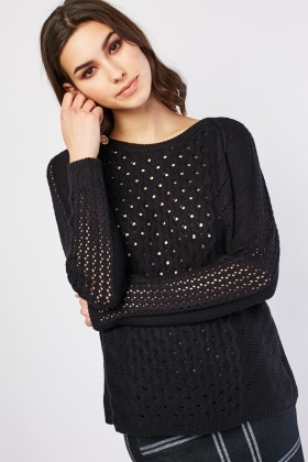 Perforated Knitted Sweater