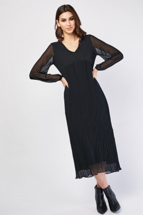 Plisse Contrast Chiffon Dress
