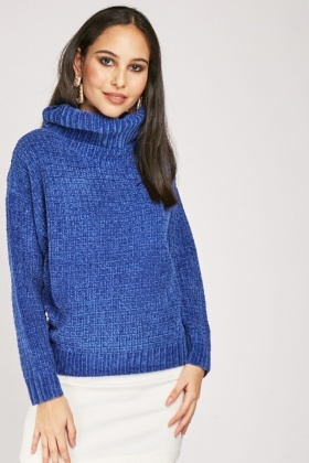 Roll Neck Grid Checkered Chenille Knit Jumper
