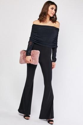 Ruched Sleeve Off Shoulder Jumpsuit