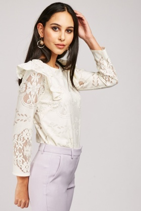 Ruffle Side Lace Overlay Top