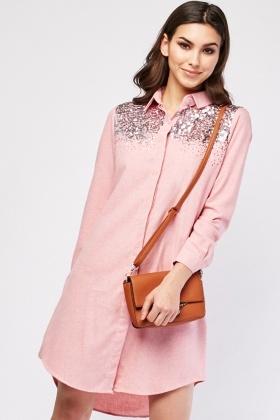 Sequin Panel Mini Shirt Dress