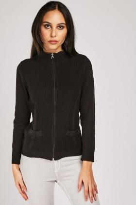 Textured Front Zip Up Cardigan