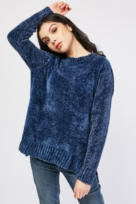 Chenille Jumper With Side Slit