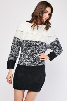 Cowl Neck Speckled Contrast Jumper Dress