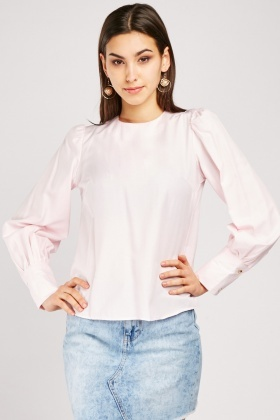 Gathered Sleeve Textured Top