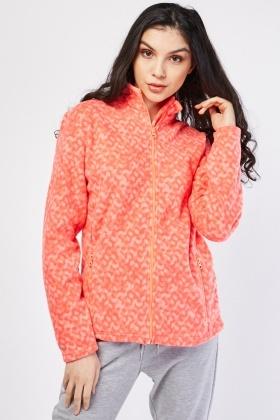 Patterned Zip Up Poly-Fleece Jacket