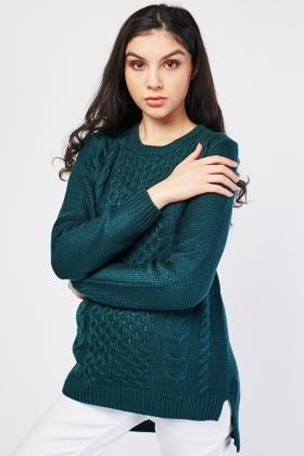 Round Neck Mix Knit Jumper