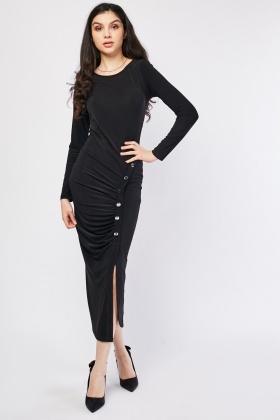 Ruched Button Trim Midi Dress