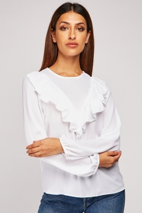 White Sheer Chiffon Blouse